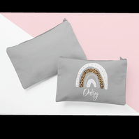 Customised cosmetic pouch with rainbow design in light grey with matching zip