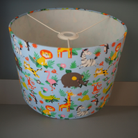 Drum Lampshade Jungle Zoo Safari animals nursery baby children ceiling or table
