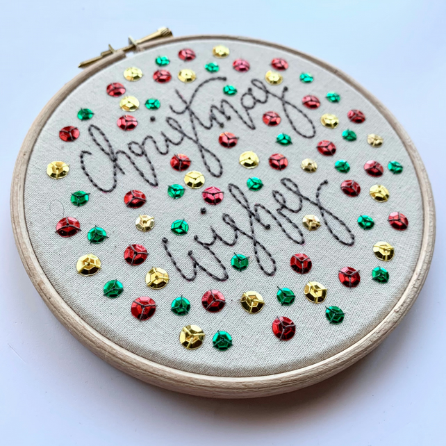 Christmas Wishes - Embroidery Hoop