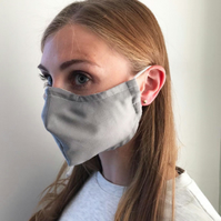 Plain grey fabric face mask with adjustable ear straps