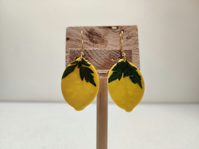 Pressed leaves lemon clay earrings