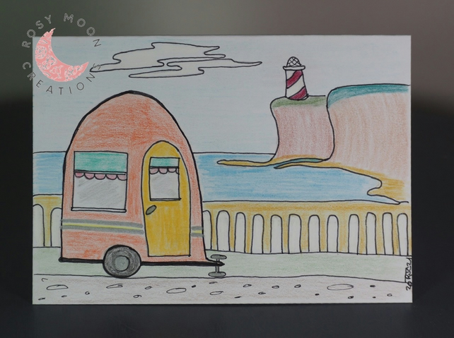 Blank Card With Holiday Caravan Picture