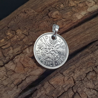 Vintage Sixpence Coin Necklace Pendant