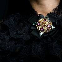 Glamorous Swarovski crystal black gold fuchsia embellished beaded ribbon brooch