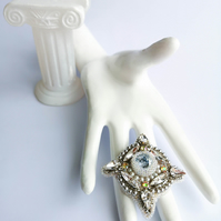 Ursula Swarovski crystal and pearl silver white beaded embellished brooch