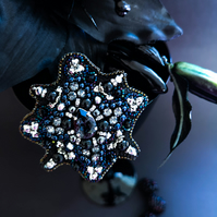Northern Star Swarovski crystal embellished beaded Black silver and blue brooch