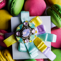 Swarovski crystal embellished beaded pastel multi color ribbon brooch