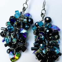 Blue and black colorful Swarovski crystal sterling silver shaggy cluster earring
