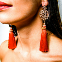 Majestic Scarlet red and rose gold bohemian glam tassel earrings