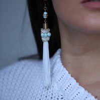White and turquoise beaded tassel earrings