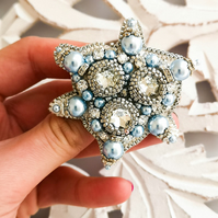 Swarovski crystal embellished beaded blue pearl crystal clear and silver brooch