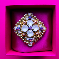 Swarovski crystal and pearl purple, rose pink and gold beaded embellished brooch