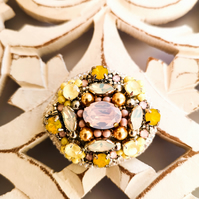 Swarovski crystal embellished beaded pastel yellow and pink handmade brooch