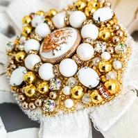 Gloria Swarovski crystal embellished beaded white and gold order ribbon brooch