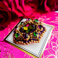 Handmade Swarovski crystal Fuschia green and gold embellished beaded Brooch