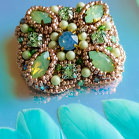 Olivia Swarovski crystal green opal rose gold light green beaded brooch