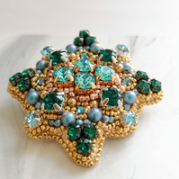 Esmeralda Swarovski Crystal blue and green embellished beaded brooch