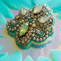 Arabella Swarovski crystal embellished beaded light blue and silver brooch