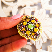 Swarovski crystal embellished beaded multicolor yellow, green, purple brooch