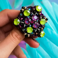 Swarovski crystal embellished beaded multicolor black, purple and green brooch