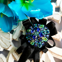 Marina Swarovski crystal blue and lime green black beaded ribbon brooch
