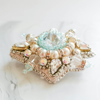 Isolda Swarovski crystal beaded embellished white and silver brooch