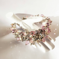 Ariana Austrian Crystal beaded pink rose and silver wedding bridal headband