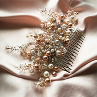 Ember Swarovski pearl rose gold cream white crystal bridal tiara wedding comb