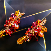 Swarovski crystal Red and Orange cluster earrings