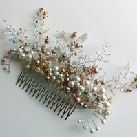 Daisy Swarovski crystal and pearl wired wedding tiara bridal comb