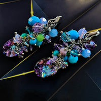 Swarovski crystal turquoise blue and purple berries cluster earrings