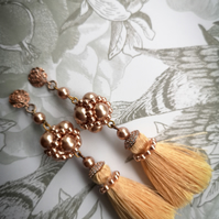 Swarovski pearl rose gold sterling silver tassel earrings almond beige