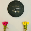 Personalised Slate Wall Clock Engraved With Family Name
