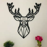Geometric Stag Head Wooden Wall Art Decor