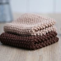 100% cotton hand-knitted dishcloths - Coffee & Biscuit