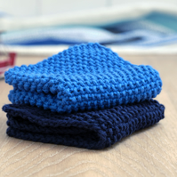 100% cotton hand-knitted dishcloths - Royal & Navy Blue