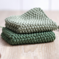 100% cotton hand-knitted dishcloths - Forest & Moss