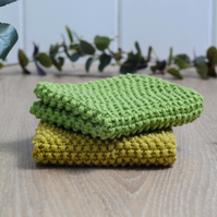 Apple & Pear - 100% cotton hand-knitted dishcloths