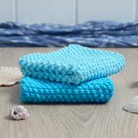 Light & Dark Turquoise - 100% cotton hand-knitted dishcloths