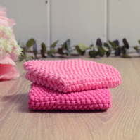 Candy & Hot Pink - 100% cotton hand-knitted dishcloths