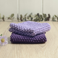 Lavender & Deep Purple - 100% cotton hand-knitted dishcloths