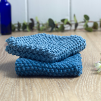 Light & Dark Denim - 100% cotton hand-knitted dishcloths