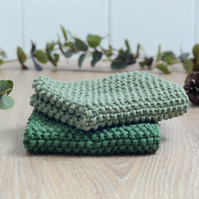Forest & Moss - 100% cotton hand-knitted dishcloths