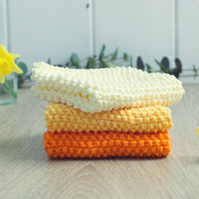 Daffodil Yellows - 100% cotton hand-knitted dishcloths