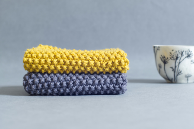 Mustard & Charcoal - 100% cotton hand-knitted dishcloths
