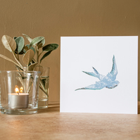 Swallow in Flight - Handmade Greetings Card