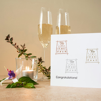 Three Wedding Cakes - Handmade Greetings Card