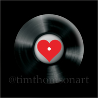 Love Vinyl! Heart in a Vinyl record 25mm Button Pin Badge