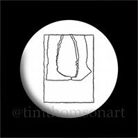 The Kiss. Originally a monoprint, now digitised as a 25mm Button Pin Badge