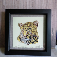 Cheetah quilled greetings card  art (frame an optional extra)